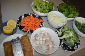 All ingredients- Seafood Vege Stir fry