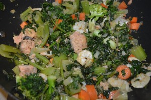 Onion + Celery + Prawn + Spinach + Salmon