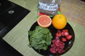 Spinach, Raspberry, Straeberry, Grapefruit, Orange , Chia Seeds (2)